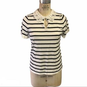 Karl Lagerfeld striped lace collar sweater tee CCO
